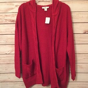 Christopher & Banks Hooded Open Cardigan